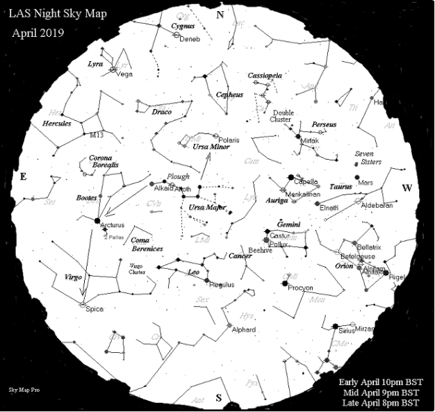 Night Sky Map - Apr 2019