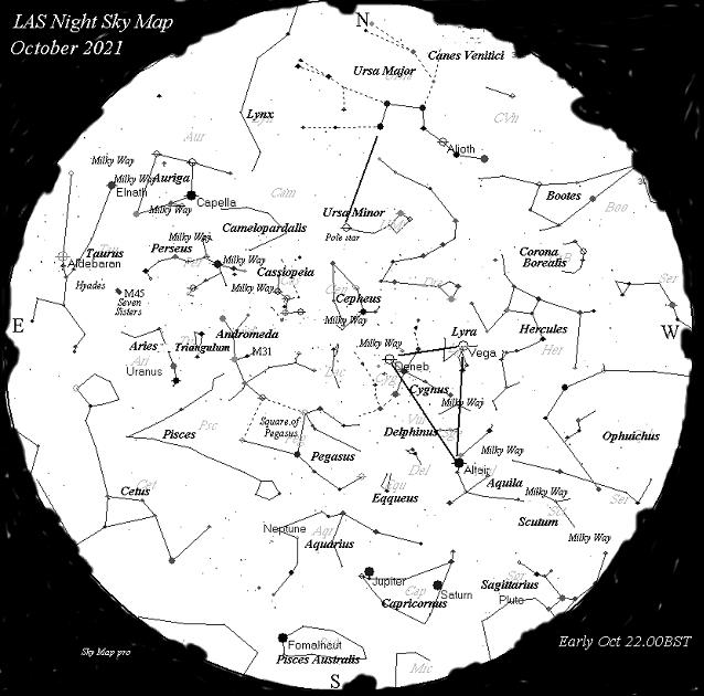 Night Sky Map - Oct 2021