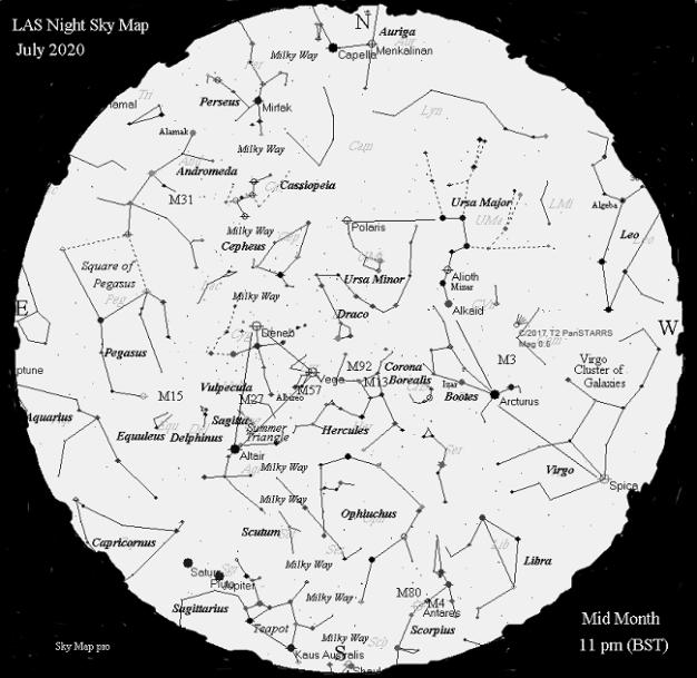 Night Sky Map - July 2020